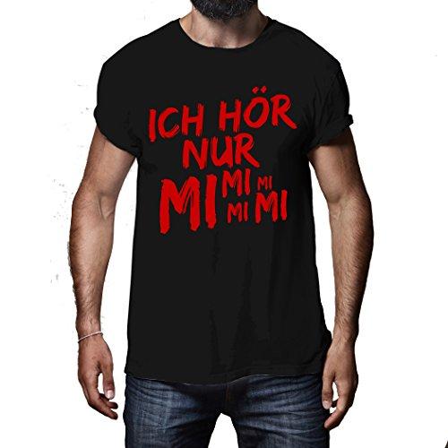Ich hör nur MiMiMi - Fun Shirt Spruch Samtflock Druck Shirt Herren (L)