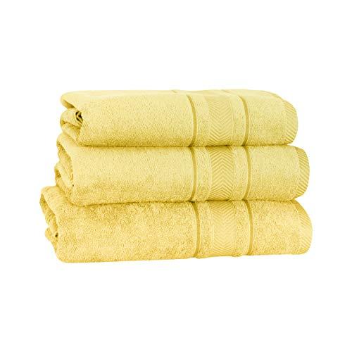 Mixibaby 3 piezas. Juego de 2 toallas de baño y 1 toalla de mano (100% algodón), color amarillo