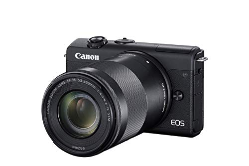 Canon EOS M200 Systemkamera Gehäuse - mit Objektiven EF-M 15-45mm F3.5-6.3 IS STM + EF-M 55-200mm F/4-6.3 IS STM (Body, 24,1 MP, 4K u. Full-HD, DIGIC 8, Dual Pixel CMOS AF, Bluetooth, WLAN), schwarz