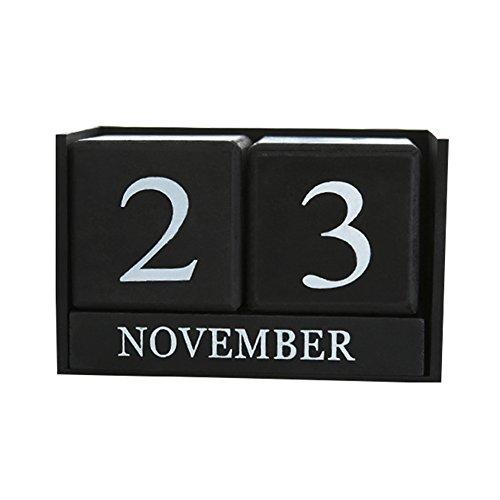 ZREAL Vintage de madera de escritorio perpetuo, calendario planificador de escritorio permanente agenda bricolaje
