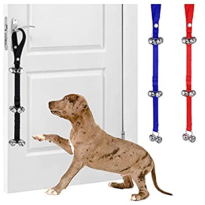 SA Products Dog Doorbell - Nylon Hanging Belt with Bells for Toilet Training Dogs & Puppies - Adjustable Potty-Trainer Aid All Doggie Breeds, Age, Sizes - Essential Accessories for Pet Owners - Black