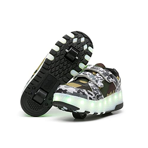 Zapatos con Ruedas Zapatillas con Dos Ruedas para niños y niña Led Luces Zapatillas con Ruedas Se Puede Bambas con Ruedas Carga con USB Automática Calzado de Camuflaje Ruedas dobles Skateboardin