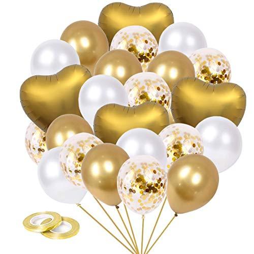 CozofLuv 52 Stück Luftballons Metallic Gold, Luftballons Golden Konfetti, Hochzeit Hochzeitsballons, Helium Balloons für Geburtstag Hochzeit Babyparty Valentinstag Silvester Deko