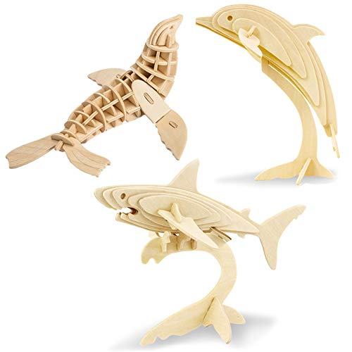 Georgie Porgy Woodcraft Construction Kits 3D Wooden Jigsaw Puzzle Wooden Model Kits for Kids Toys Age 5+ Pack of 3 (Shark + Sea Lion + Dolphin)