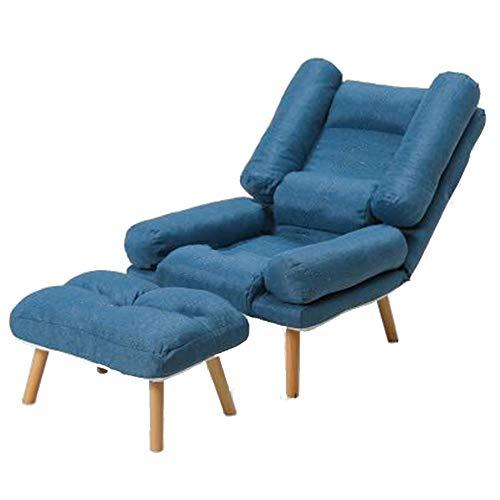 QIDI canapé Paresseux, Chaise Pliante décontracté, Chaise canapé Simple Simple, Fauteuil Balcon (Color : Upgraded Dark Blue Sofa+Pedals)
