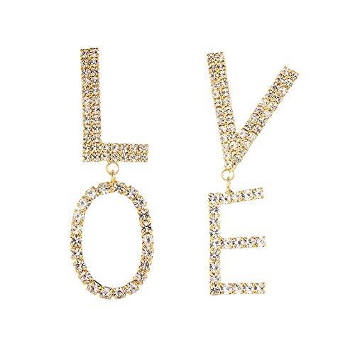 QYMX Ohrring Frauen, übertriebene Buchstaben Liebe Asymmetrische große Lange Tropfen baumeln Ohrringe Shiny Punk Statement Frauen Schmuck