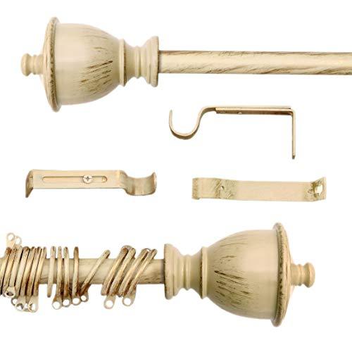 AT17 Gardinenstange Vorhangstange Gardinenstange Variable Länge Landhaus Shabby Chic - Vintage - 160-300 - Durchmesser 2 cm - Elfenbein Dunkel/Gold - Metall