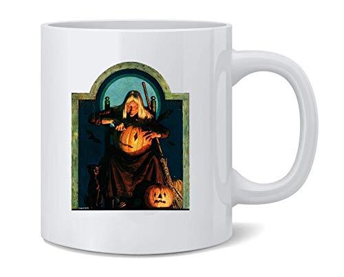 Witch Carving Pumpkin Retro Vintage Halloween Ceramic Coffee Mug Tea Cup Fun Novelty Gift 12 oz