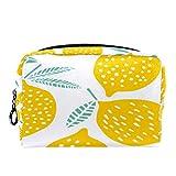 Bolsa de cosméticos Bolsa de Maquillaje para Mujer para Viajar para Llevar cosméticos, Cambio, Llaves, etc. Fruta Limón Patrón sin Costuras Amarillo