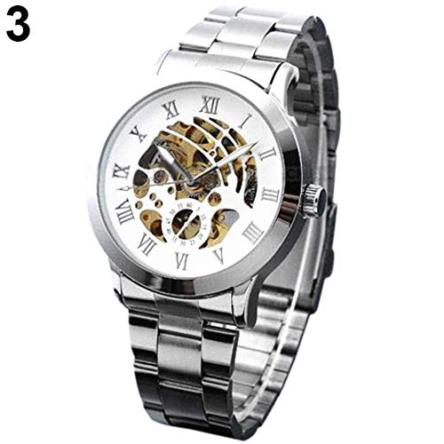 Luxury Men's Roman Numerals Tungsten Steel Mechanical Skeleton Wrist Watch mas-culino Fashion Men's Watch Large Dial Militarys