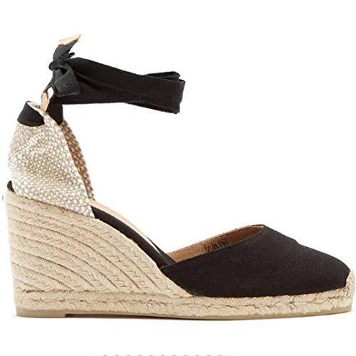 Alpargatas de Mujer Summer Light Transpirable Moda Color sólido Suede Lace Up Low Top Wedge Heel 7 CM Talla Grande 42 Señoras Sandalias de Punta Cerrada