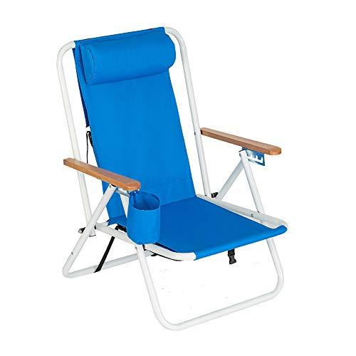 Portable High Strength Beach Chair with Adjustable Headrest Beach Chair-Backpack Blue-Patio Furniture Sets