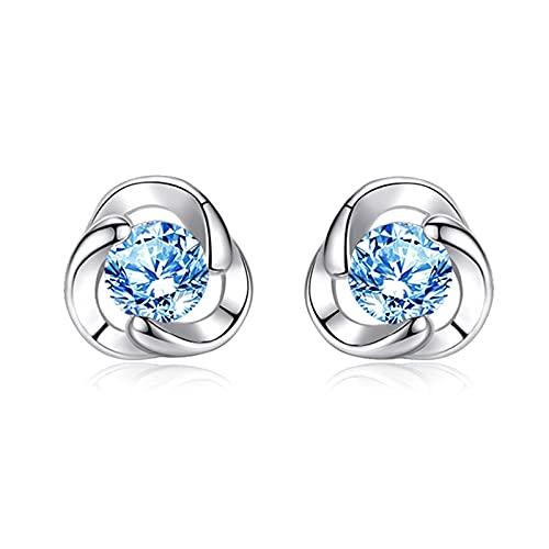 WPJ Pendientes para Mujer Pendientes de Plata esterlina Pendientes de Cristal Pendiente de Oreja Joyería para niñas, Cristales Azules, Cristales claros (Color : A)