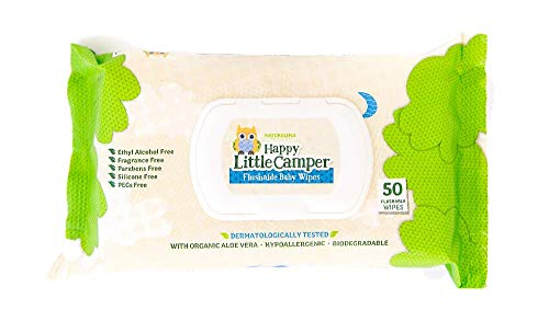 Happy Little Camper Flushable Toddler Wipes with Organic Aloe, Septic Safe,...