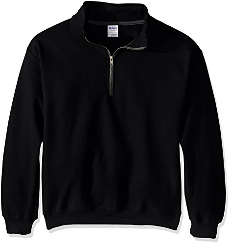 Gildan Men's Fleece Quarter-Zip Cadet Collar Sweatshirt, Black, Large