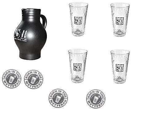 BEMBEL-WITH-CARE 1 Liter Bembel + 4 Gläser 0,25l + Gratis 4 Stöffcheparkplätze