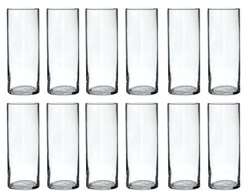 Treasures Untold Glass Cylinder Vases Bulk Set of 12 for Wedding Reception Centerpiece Sets and Formal Dinners (9 Inch)