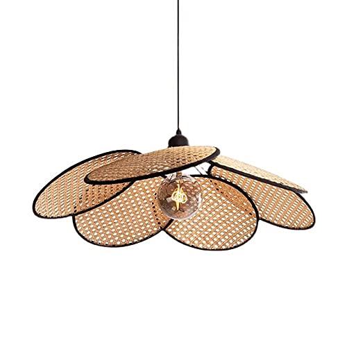 Xungzl Creative Sombrero de paja forma de costura Bambú Colgante de iluminación, estilo retro japonés Chandelier simple, estilo asiático del sudeste Home Restaurant Decoración lámpara colgante, dispos