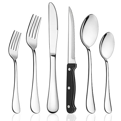 LIANYU 48-Piece Silverware Set with Steak Knives, Stainless Steel Flatware Cutlery Set for 8, Fancy Eating Utensils Tableware, Dishwasher Safe, Mirror...