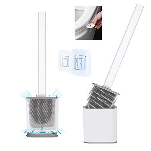Yuanyiheng toilettenbürste silikon wc bürsteToilettenbürste und Behälter,Toilettenbürste mit schnelltrocknendem Halter Wandtoilettenbürste für Bad und WC (weiß)