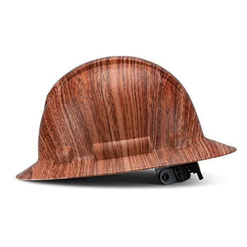 Full Brim Customized Ridgeline ABS Hard Hat, Custom Knock On Wood Design Safety Helmet, with 6 Point Suspension, Flag Decal Included, by Acerpal