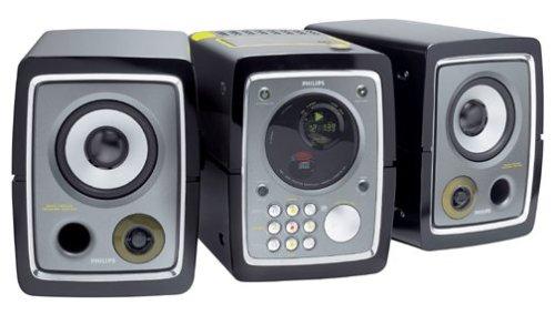 Philips MC 320 - Micro system - radio / CD / cassette - black, silver
