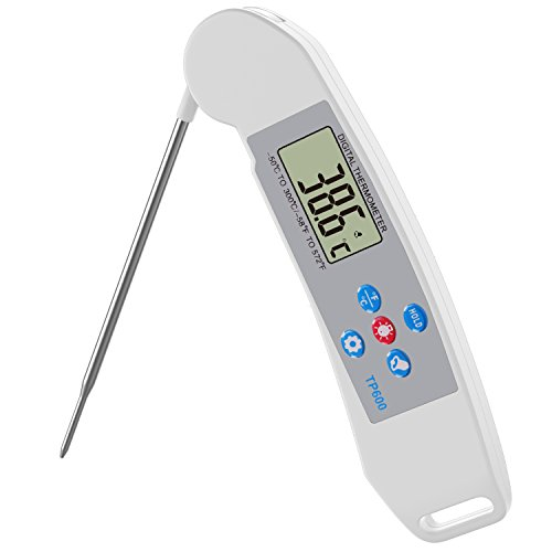 Nuovoware Digital Cooking Thermometer, Instant Read High Precision Digital Food Meat Cooking Thermometer with Retractable Stainless Stell Probe, for Cooking Baking Grill Barbecue Bath Water, White