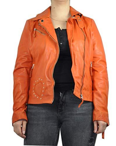 HM-Moden Blue Monkey - Damen Lederjacke aus weichem Lammleder, (Artikel bm 01 730), Größe:XL, Farbe:orange