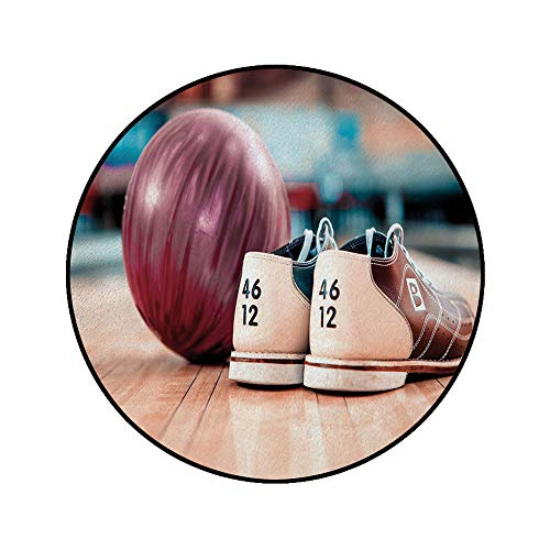 3' Round Area Rugs,Close Up Bowling Shoes with Purple Ball on Alley Indoor Activity Decorative Super Soft Washable Carpet for Living Room Bedroom Home Children Playroom Nursery, Multicolor