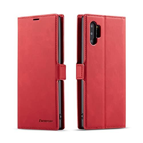 Funda de piel sintética multifunción para Samsung Galaxy Note10 Plus, 2 en 1, con función atril y función atril, carcasa inferior de TPU con ranura para tarjeta (color rojo)
