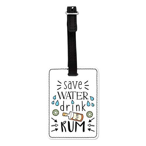 Gift Base Save Beber Agua Ron Visual Equipaje Etiqueta con Correa Negra