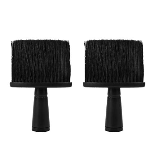 2 Piezas Profesional Cepillo Barbero, Cepillo de Peluquería para el Cuello, Cepillo de limpieza para Corte de Pelo de Salón con asa, Estilista Suave Cepillo Plumero, Negro