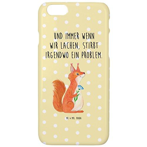 Mr. & Mrs. Panda Hülle, Cover, iPhone 6 / 6S Handyhülle Eichhörnchen Blume mit Spruch - Farbe Gelb Pastell