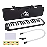 EastRock 37 Key Melodica Instrument Keyboard Soprano Piano style with Mouthpiece Tube Sets and Carrying Bag for Kids Beginners Adults Gift Black