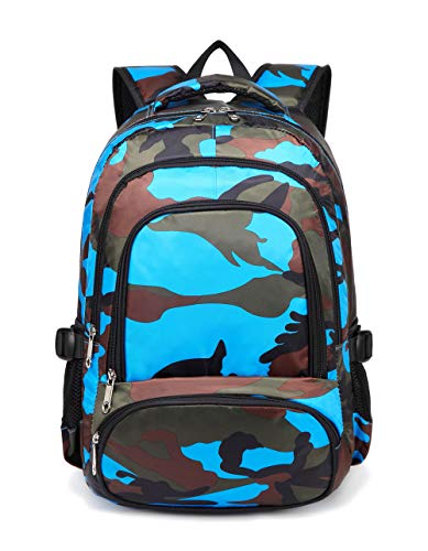 BLUEFAIRY Boys Camouflage School Bags for Kids Backpacks for Elementary Lightweight Waterproof (Camo Blue)