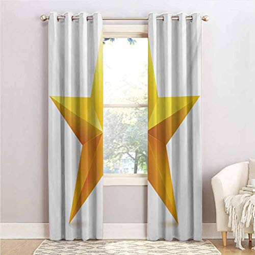 ScottDecor Yellow Curtain for Living Room for Kitchen, Bedroom Single Gold Colored Star on Plain Background Christmas Celebration Inspired Print Yellow White 38' W x 84' L