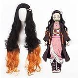 Linna Demon Slayer Kamado Nezuko Cosplay Anime Perruque Femmes Orange Dégradé Noir Longs Cheveux Bouclés Halloween Party Costume Perruque avec Perruque Cap