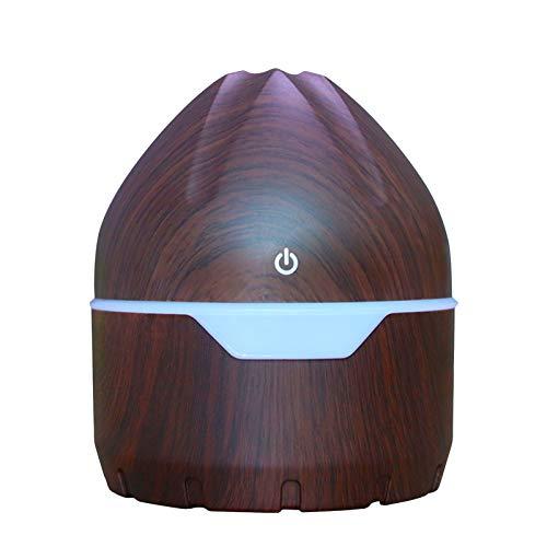 Diffuseurs d'Huiles Essentielles, Mini Humidificateur d'air à Ultrasons USB Aroma Diffuseur en Bois de Grain LED Night Light Aromathérapie pour Yoga, Bureau, Voiture, SPA