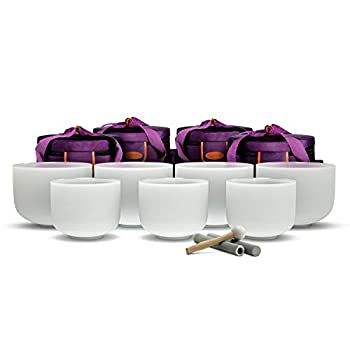 TOPFUND Chakra Tuned Set of 7 Crystal Singing Bowls 8-10 inch with Heavy Duty Carrying Cases and Singing Bowl Mallet Suede Strikers