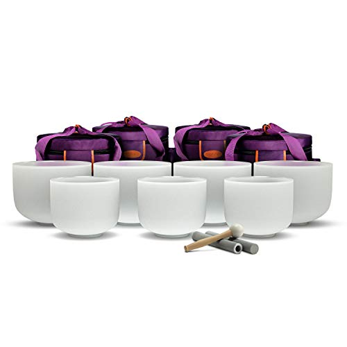 TOPFUND 432 Hz Chakra Tuned Set of 7 Crystal Singing Bowls 8-10 inch with Heavy Duty Carrying Cases and Crystal Singing Bowl Mallet Suede Strikers