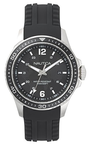 Nautica Herren Analog Quarz Uhr mit Silikon Armband NAPFRB001
