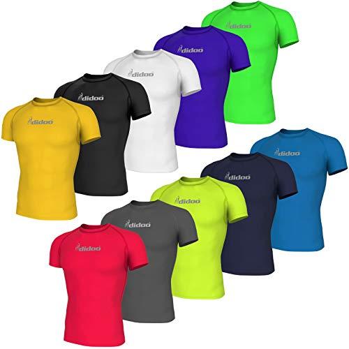 Didoo Compressione Manica Corta Maglia per Uomo Ciclismo Strato di Base T-Shirt, Traspirante Asciugatura Veloce Riflettente Perfetto per Fitness Allenamento Sport Corsa - Verde Fluorescente, XX-Large