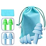 Bihuo Silicone Ear Plugs, 2 Pairs Reusable Earplugs Individually Wrapped with Carry Bag NRR 32 Noise Cancelling Plug for Sleeping, Snoring, Swimming, Airplane and Hearing Protection (Lime/Blue)