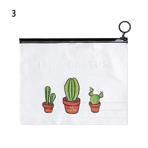 shihao159 2 STKS briefpapier transparant grote capaciteit schattige opslag zakken potlood hoesjes map Cactus Ring 3