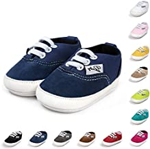 BENHERO Baby Boys Girls Canvas Toddler Sneaker Anti-Slip First Walkers Candy Shoes 0-24 Months 12 Colors(12cm,6-12 Months Infant, Aa/Navy)