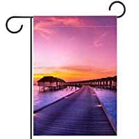 ガーデンサイン庭の装飾屋外バナー垂直旗美しい夕日 オールシーズンダブルレイヤー
