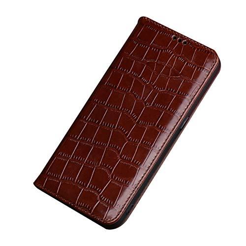 qichenlu Eingebauter Magnetverschluss Alligator Kaffee Echtleder Klapphülle für Galaxy A72,Echtes Rindsleder Handytasche Flipcase Magnetisch Hülle für Samsung Galaxy A72