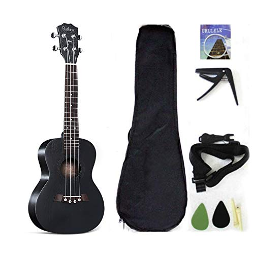 Ukulele da concerto con parte superiore in mogano, 58,4 cm, con accessori per ukulele con custodia, tracolla, corda in nylon, plettri 23 inch Cruz V2 Fresh Foam
