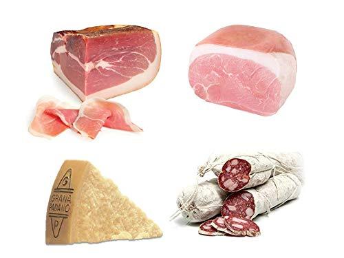 Box Degustazione: Prosciutto crudo di Parma DOP, Trancio 2,7 Kg + Trancio di prosciutto cotto spalla, c.a. 2 kg + Salame Corallina c.a. 1 kg + Formaggio Grana Padano Dop 0,500Kg