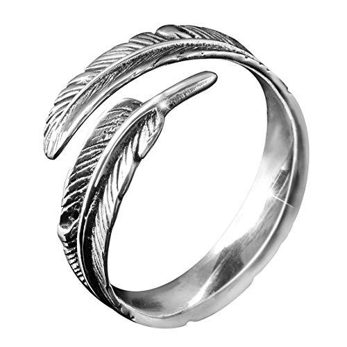 MATERIA gioielli 925 argento anello norvegese, - anello da donna in argento anticato piuma in taglia 52 - 60/taglia regolabile #SR-23